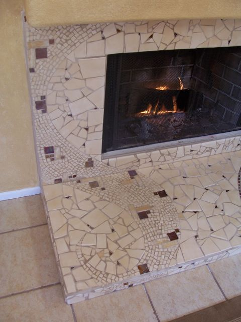 mosaic work, art, stone fireplaces, Brandi Fletcher