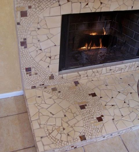 mosaic fireplace with stone and glass