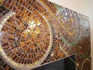 ball chain, glass art work, gold leaf