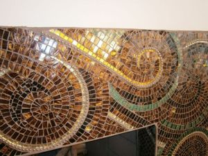 mosaic fireplace, glasswork
