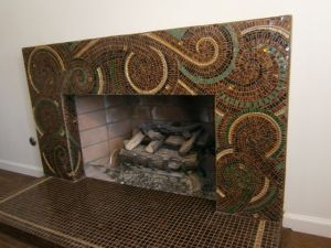 mosaic glasswork, fireplace art, gold leaf