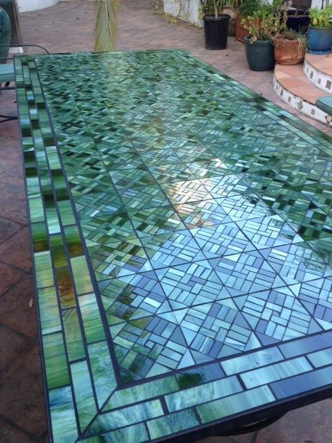 mosaic glass hand cut table top, mosaic design, original mosaic project