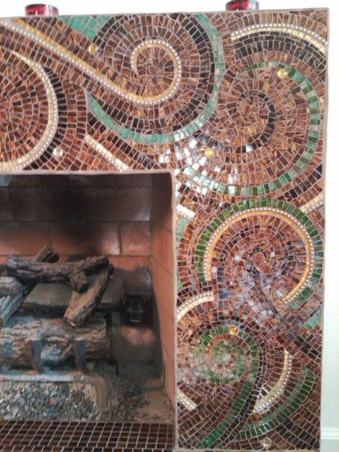 Mosaic artwork, hand cut glass project,