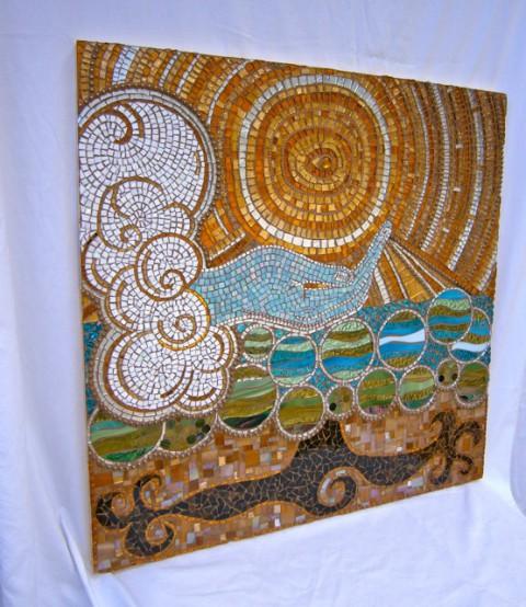 Ace of Life, mosaic brandi fletcher, gold leaf mosaic,