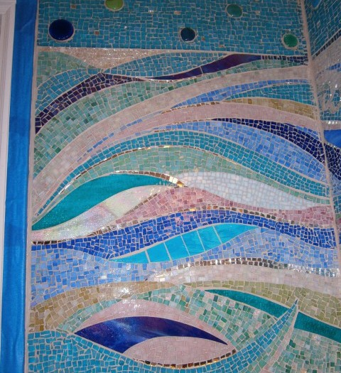 hand cut bathroom glass mosaic, ocean themed mosaic