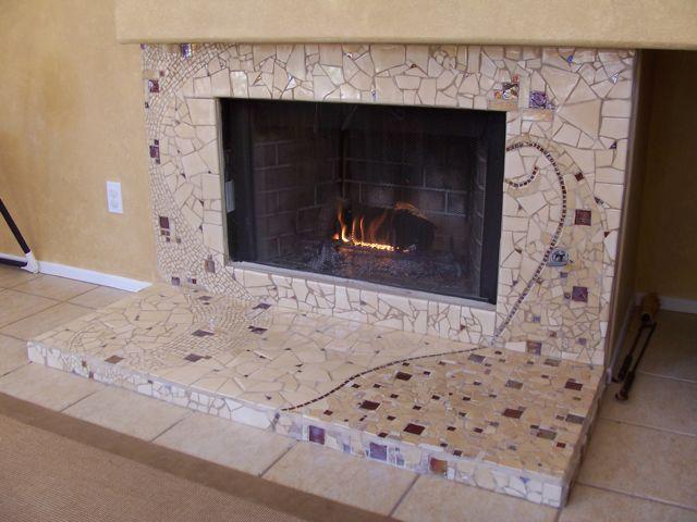 mosaic fireplace, tile work, mosaic art