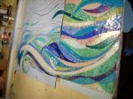 glass mosaic design in bathroom, colorful mosaic, shower mosaic
