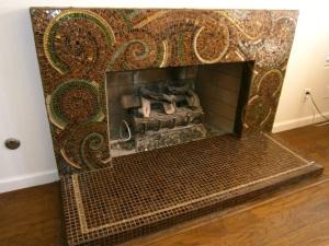 handcut mosaic artwork, fireplace artwork, detailed mosaic