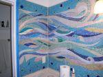 mosaic bathroom wall, handcut glass mosaic